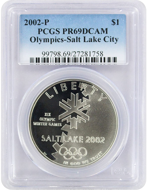 2002-P US Salt Lake City Olympic Commem Proof Silver Dollar PCGS PR69 DCAM
