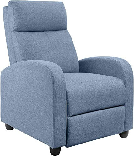 JUMMICO Fabric Recliner Chair Adjustable Home Theater Single Massage Recliner Sofa Furniture with Thick Seat Cushion and Backrest Modern Living Room Recliners Light-Blue