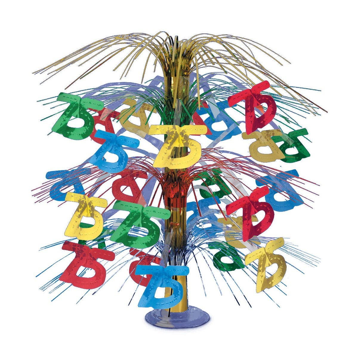 Pack of 6 Multi-Colored Happy ''75th'' Birthday Party Cascading Table Centerpieces 18''