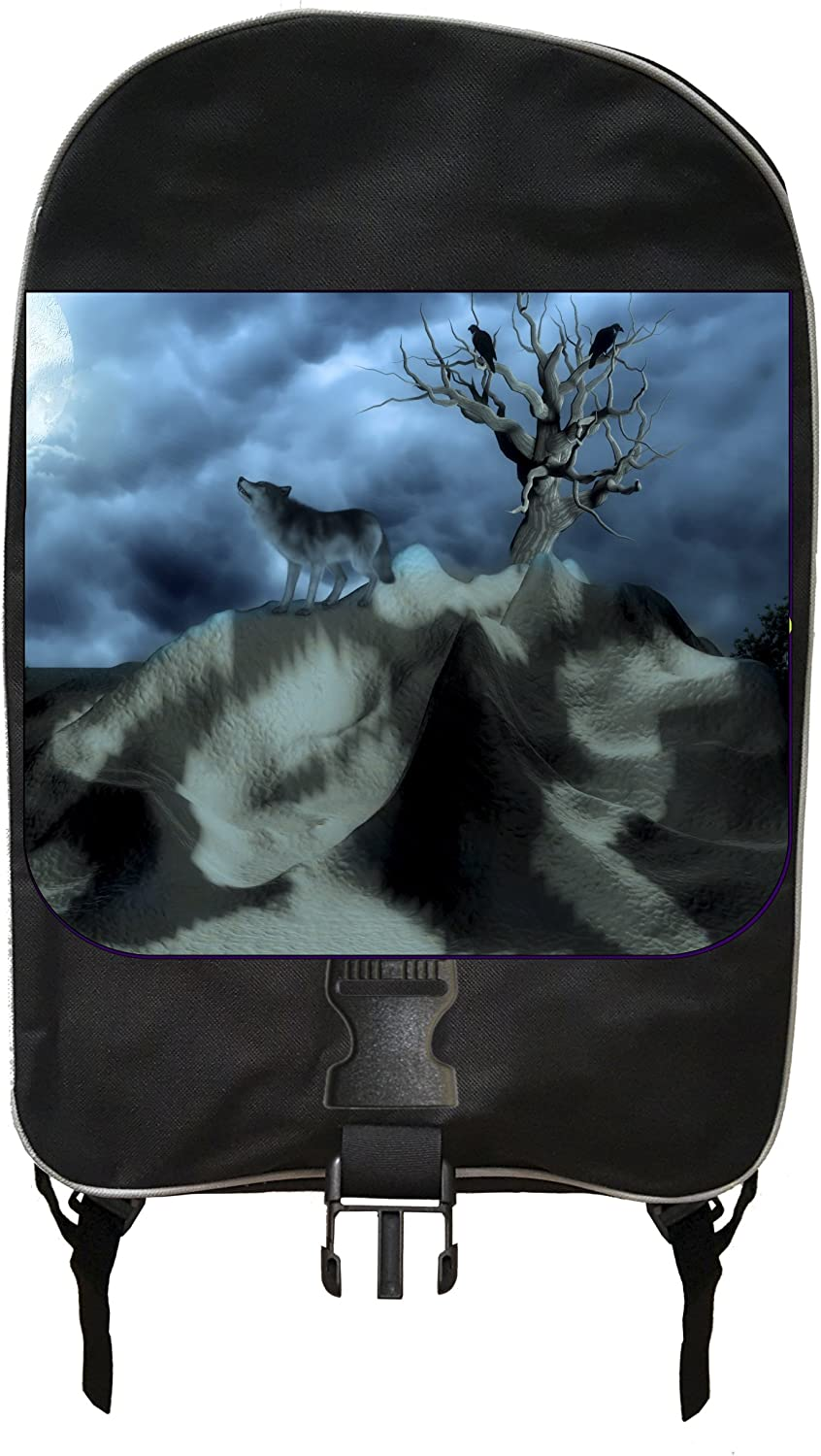 Black School Backpack /& Pencil Bag Set Wolf on a Mountain