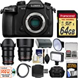 Panasonic Lumix DC-GH5 Wi-Fi 4K Digital Camera Body with 35mm & 85mm T/1.5 Lenses + 64GB Card + Case + Video Light + Battery Kit