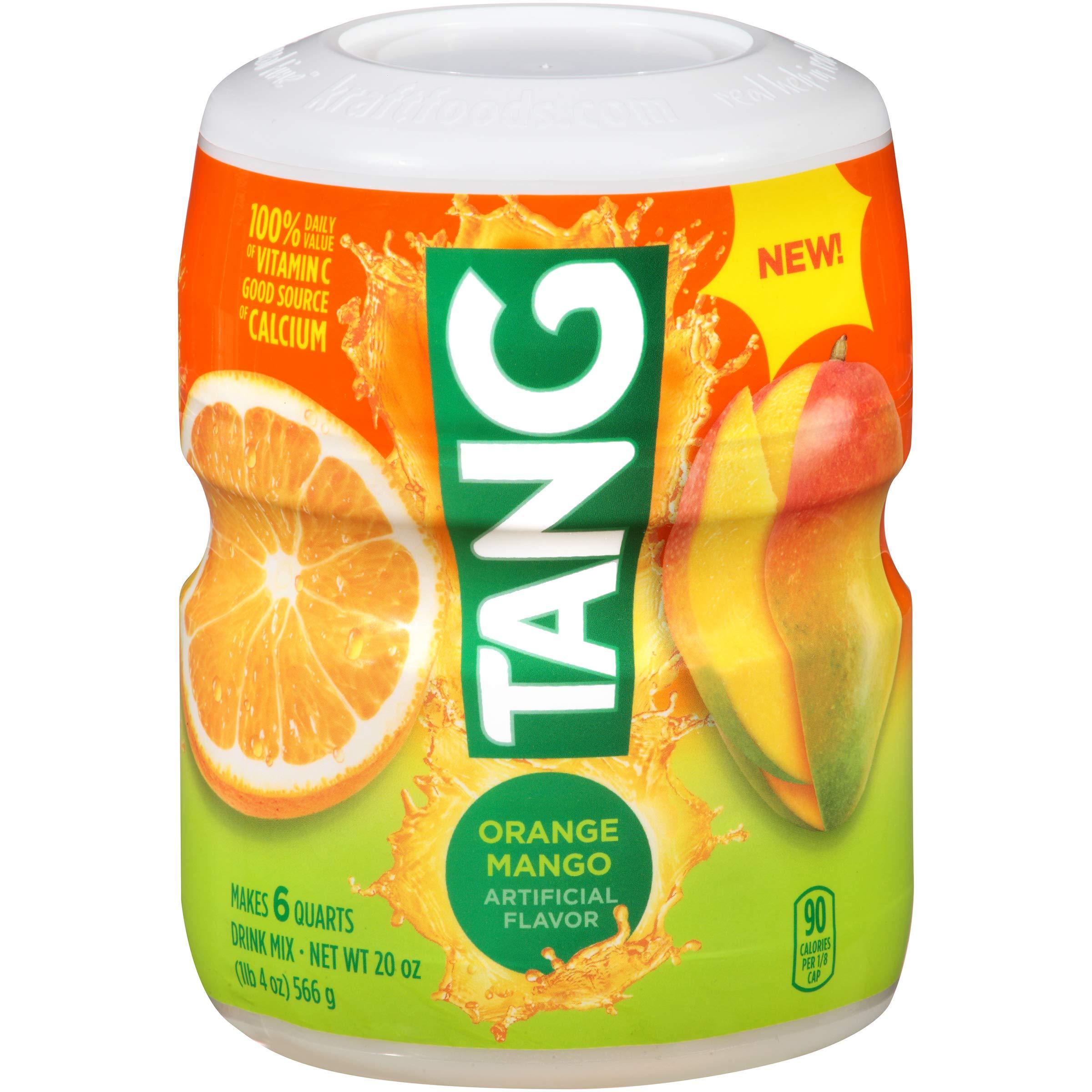 Tang Powdered Soft Drink Mix, Orange Mango, Caffeine Free, 20 oz Jar