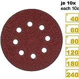 PRETEX 60 disques velcro de ponçage pour ponceuse excentrique 8 trous, Ø 125 mm, 10 disques par chaque taille de grain 40 / 60 / 80 / 120 / 180 / 240 | set de papier à poncer, feuilles à poncer, set de feuilles à poncer, set de disques de ponçage