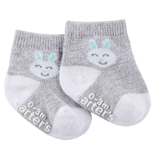 Carter's Unisex Baby Easter Bunny Socks (0-3 Months, Grey)