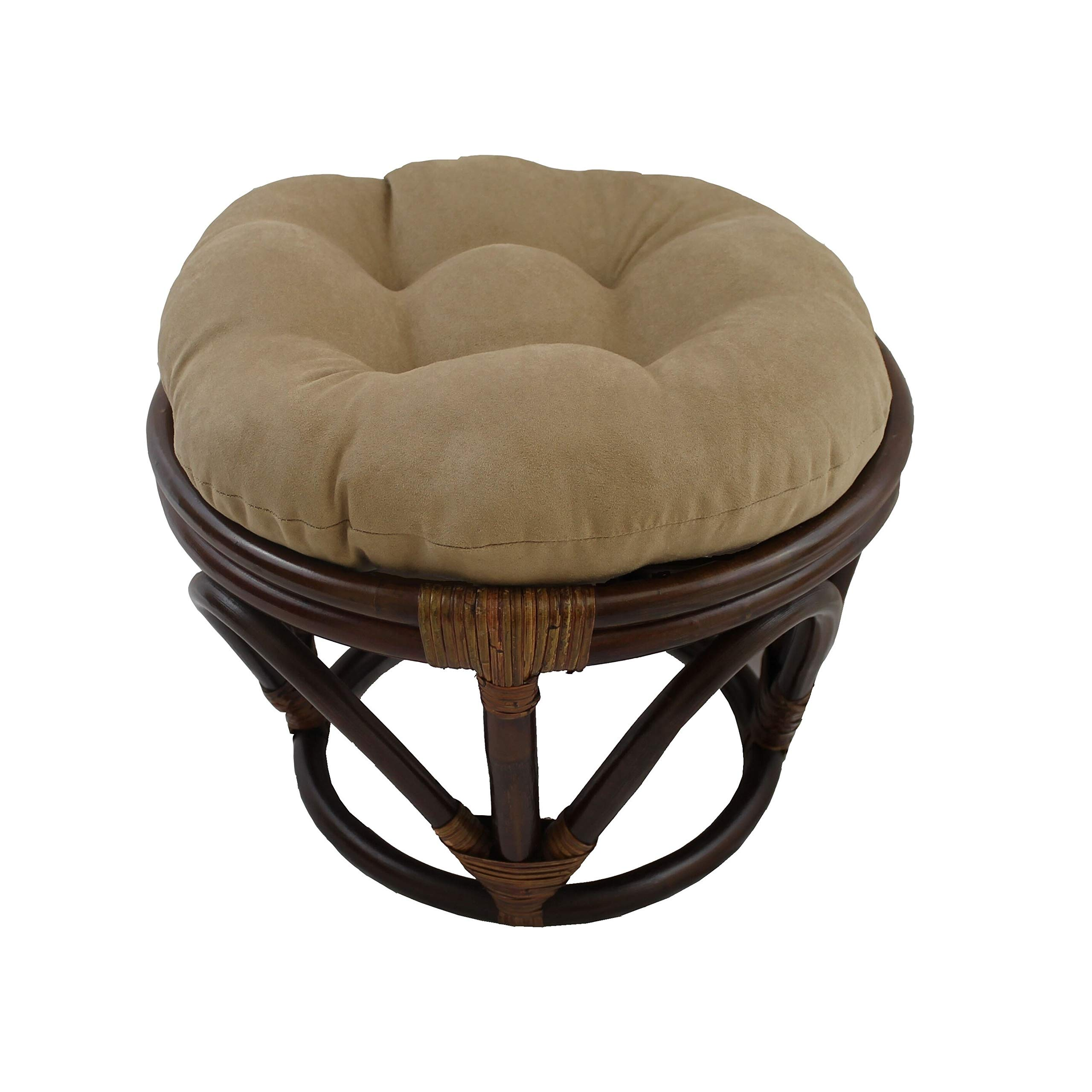 International Caravan Bali Papasan Footstool with Microsuede Cushion Tan by International Caravan