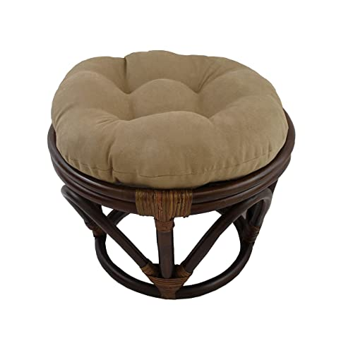 MISC 18 Inch Java Brown Papasan Foot Stool Coastal Rattan Ottoman Round Microsuede Bohemian Frame with Padded Cushion Tufted Thick Pad