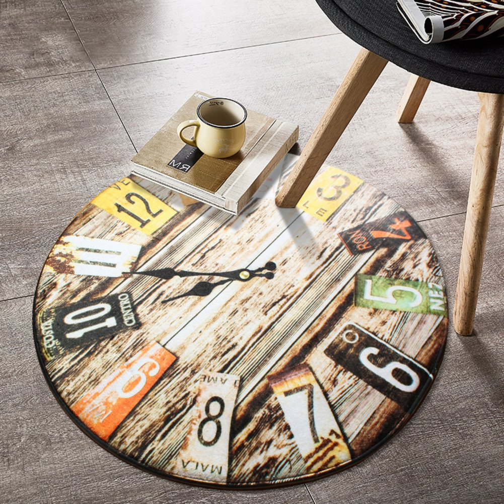 Door mat,Gate pad,Rug,[creative],Clock,[study],Circular carpet,Living room,Tea table,Mat bedroom hanging,Computer chairs,Room bed mat-D diameter200cm(79inch)