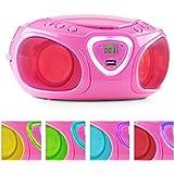 auna Roadie boombox compatta radio portatile stereo con lettore CD (dispositivo bluetooth, ingresso USB MP3, radio OM/OUC, effetti LED) - rosa