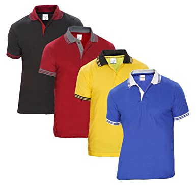 Baremoda Men s Polo T Shirt Blue Yellow Maroon and Black Combo Pack of 4 ( Small d28549ef98a