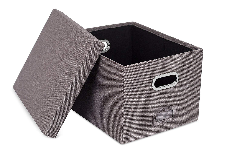 Viluh Collapsible File Box Storage Organizer | Decorative Linen Filing & Office Bin | Letter/Legal | Hanging Folders | Dog Toy Basket | Charcoal Gray |