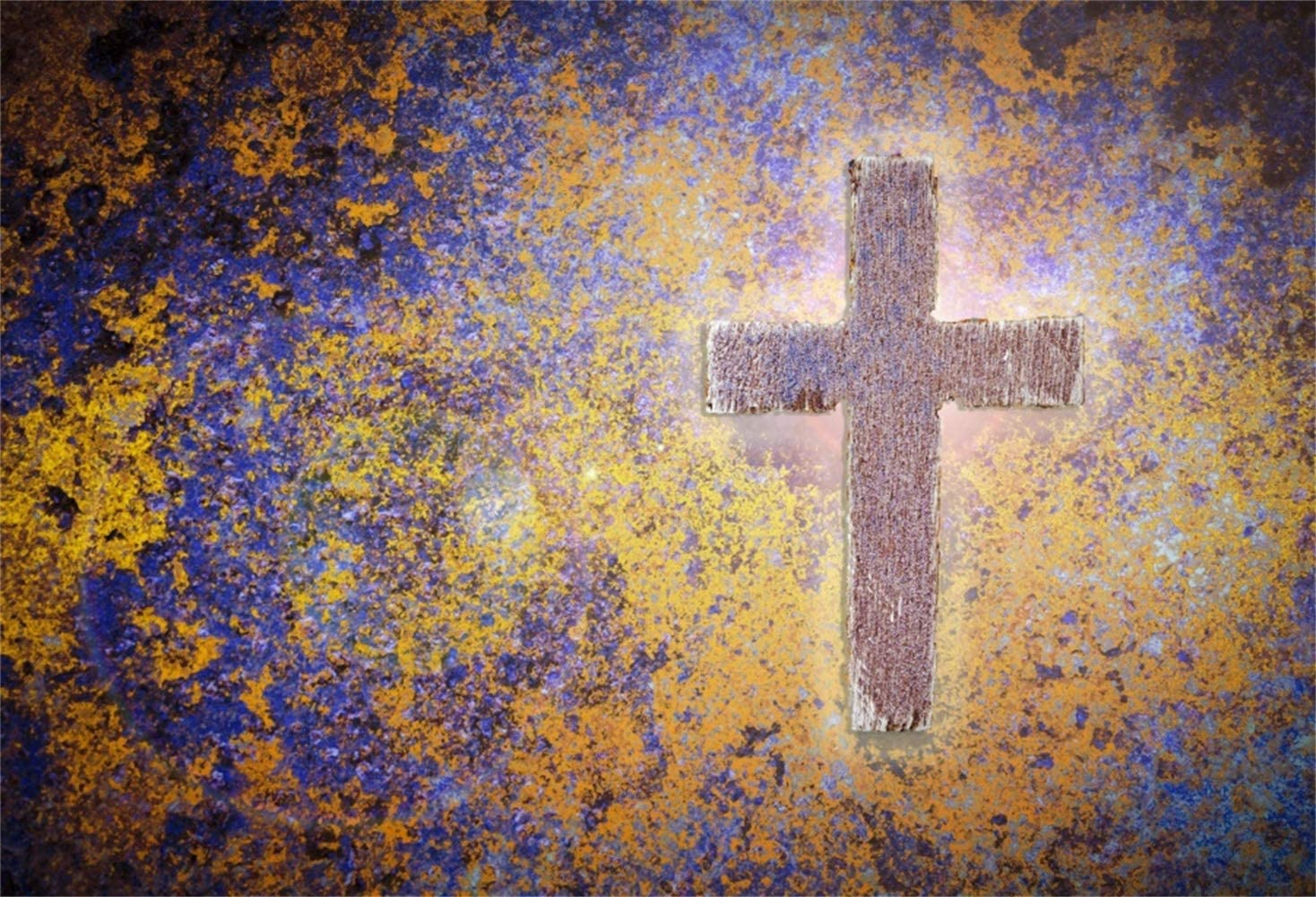 Easter Theme 10x6.5ft Polyester Photography Background Grunge Moldy Yellow Blue Wall with Cross Scenic Backdrop Community Activities Easter Egg Hunt Banner Wallpaper Studio Props