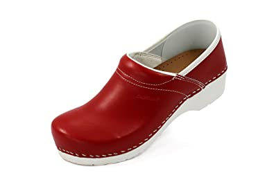 Original Dan Clogs Clogs from Denmark in red / white made from genuine leather Red Size 5 B00CRQXAJI