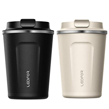 4e3b2c88a0f Amazon.com: Leidfor Insulated Tumbler Coffee Travel Mug Vacuum Insulation  Stainless Steel with Lid Leakproof BPA-Free 12oz Black Cream White TWO  PACK: ...