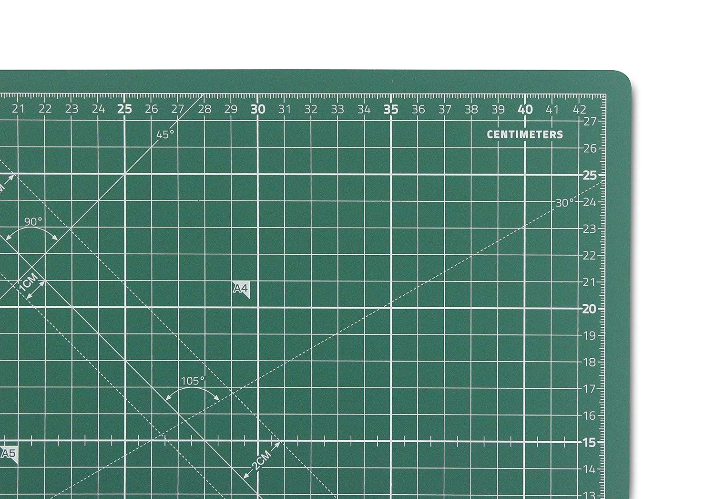 beidseitig Bedruckt 45x30cm Selbstheilende Schneidematte A3 La Canilla /® Professionell Cutting Mat Zentimeter und Zoll Gr/ün Basteln und Patchworken 5 Schichten Recycling-PVC f/ür N/ähen