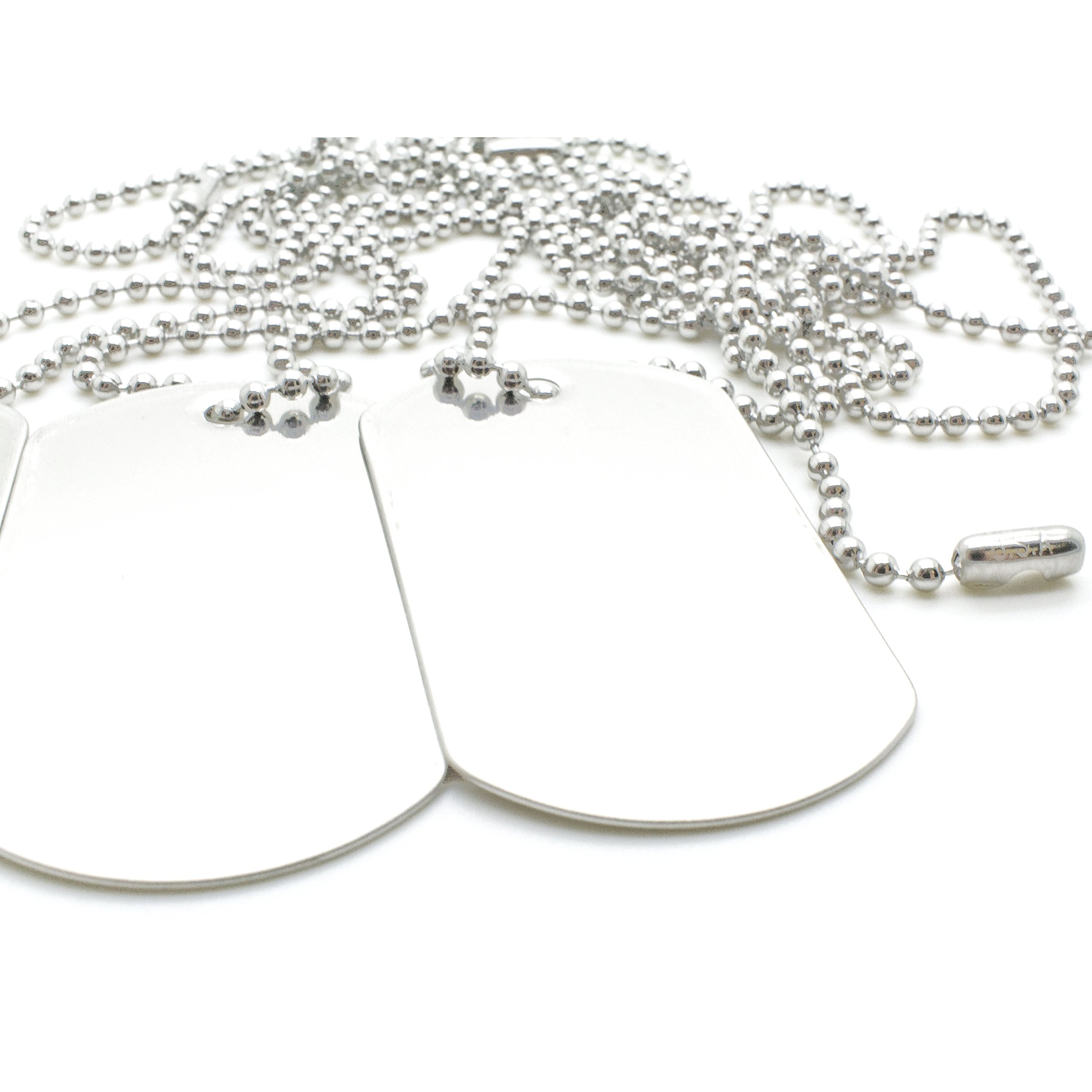 100 COMBO Shiny Stainless Steel Military spec Dog Tags - BLANK with Stainless Steel Chains (100 dog tags w/ 30'' chains)