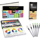 Watercolor Paint Set For Artists On-The-Go! Value Bundle Includes 36 Half Pans of Vibrant Water Color Palettes + 6…
