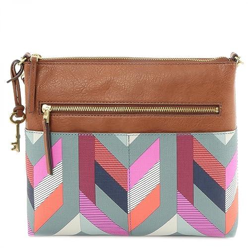 Fossil Fiona L Crossbody Grun Rot Pink Damen Marke Handtasche Tasche