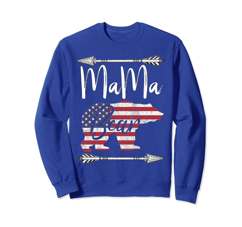 4th of July Sweatshirt For Women Mama Bear American Flag USA-AZP