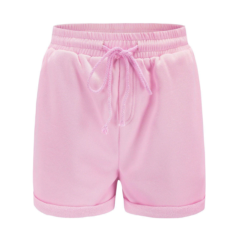 Zimaes-Women Sports Solid Travels Summer Vogue Midi Shorts Pink L