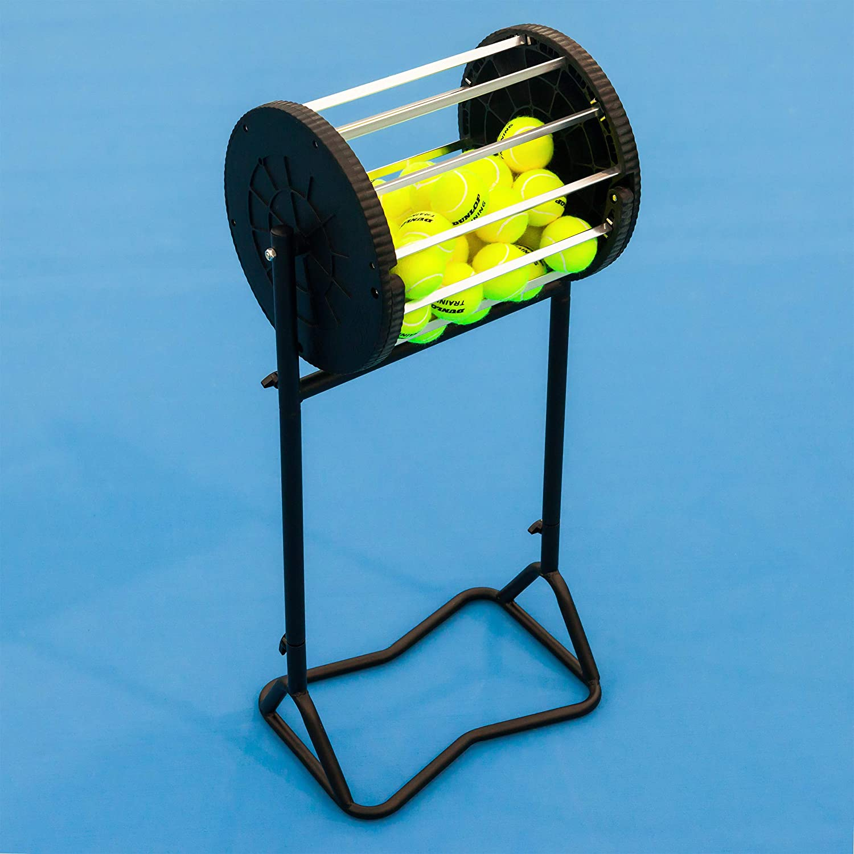 Vermont Tennisball Roller Mä her & Hopper | Speichern Sie bis zu 85 Tennisbä lle | Verschließ barer Deckel | Einfache Tennisball-Kollektion | Professioneller Ballkorb | Pulverbeschichteter Stahlrahmen Net World Sports