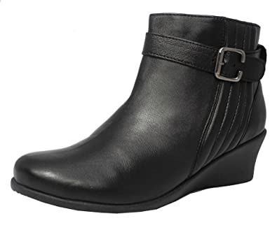 Womens Ladies Mod Comfys Leather Comfort Wedge Heel Ankle Boots Black Size 6