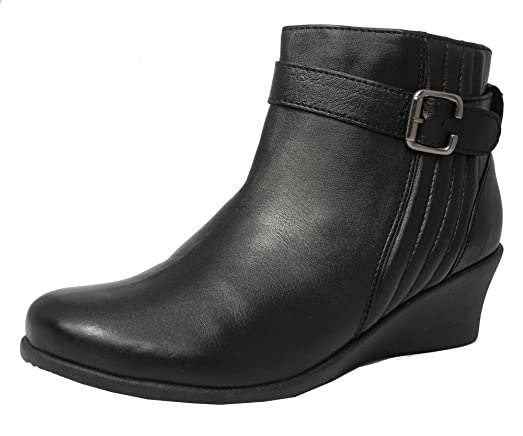 Womens Ladies Mod Comfys Leather Comfort Wedge Heel Ankle Boots ...