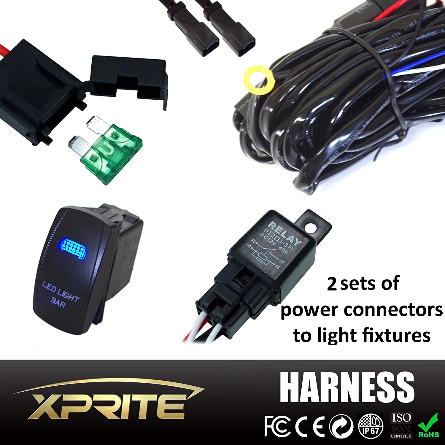 Amazon.com: Xprite 2 Leg Off Road ATV/Jeep LED Light Bar Wiring Harness 12  Voltage - 40 Amp Relay ON/OFF Switch For LED Work Light Lamp & LED Work  Light ...