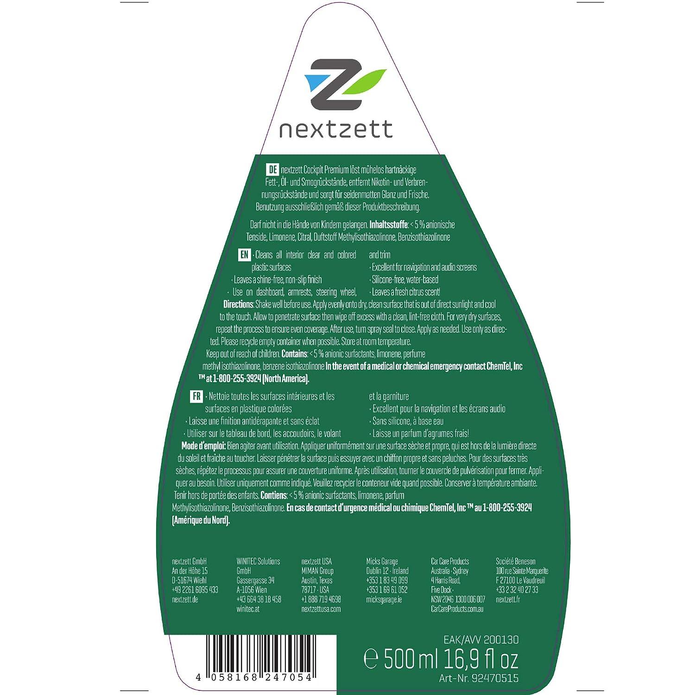 Nextzett Cockpit Premium - Limpiador y acondicionador de plasticos y salpicaderos (500ml): Amazon.es: Coche y moto