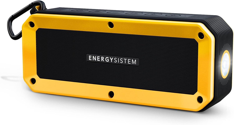 Energy Sistem Outdoor Box Bike (Bluetooth, Manos Libres, 10 W, microSD, Radio FM, Entrada de Audio, Resistente a Agua y Golpes, Linterna, Accesorios)- Amarillo