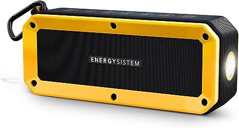 Energy Sistem Outdoor Box Bike Altavoz Bluetooth (Bluetooth, Manos Libres, 10 W, microSD, Radio FM, Entrada de Audio, Resistente a Agua y Golpes, Linterna, Accesorios)- Amarillo