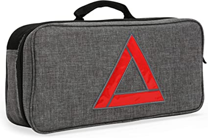 Ideal Winter Accessory for Your car or Truck First Aid Kit Thrive Roadside Assistance Auto Emergency Kit Reflective Safety Triangle and More Gray Travel Bag Tools Contains Jumper Cables
