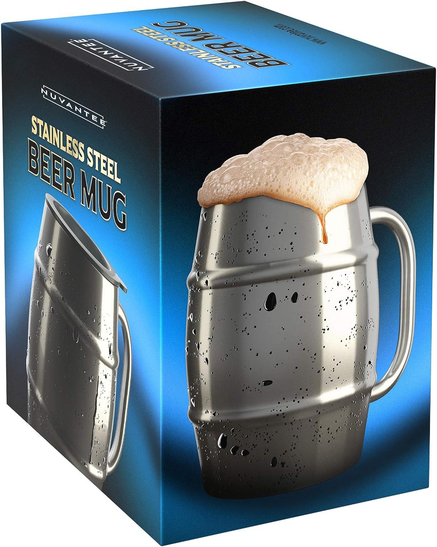 Nuvantee Jarra de Cerveza – Jarra de Acero Inoxidable Premium/Taza de Café con Tapa Bonus – 500ml de Doble Pared con Aislamiento de Aire – Sin Condensa – Puede Ser Congelado