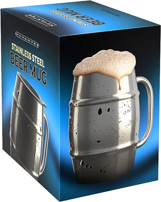Nuvantee Jarra de Cerveza – Jarra de Acero Inoxidable Premium/Taza ...