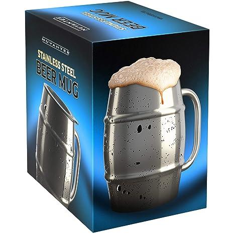 Nuvantee Jarra de Cerveza – Jarra de Acero Inoxidable Premium/Taza de Café con Tapa Bonus – 500ml de Doble Pared con Aislamiento de Aire – Sin ...