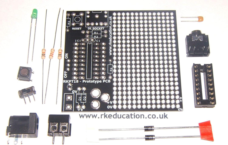 picaxe C/âble et Genie Kit /à monter rkpt18/Prototype PCB pour projet 18/broches Pic