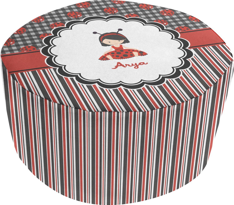 Ladybugs & Stripes Round Pouf Ottoman (Personalized)