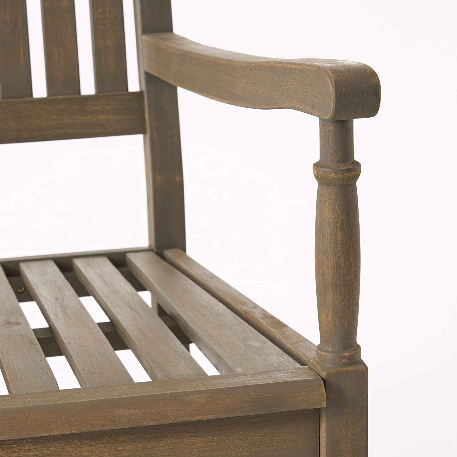 Gray Great Deal Furniture Myrna Outdoor Acacia Wood Rocking Chair
