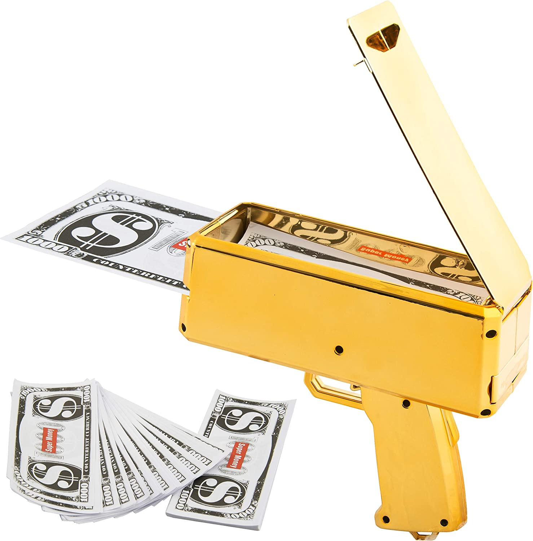 Shooting Cash Cannon Money 100 Notes US Rain Maker Dispenser Red Gun Money