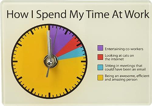 Enesco Work Pie Chart Battery-Operated Desk Clock
