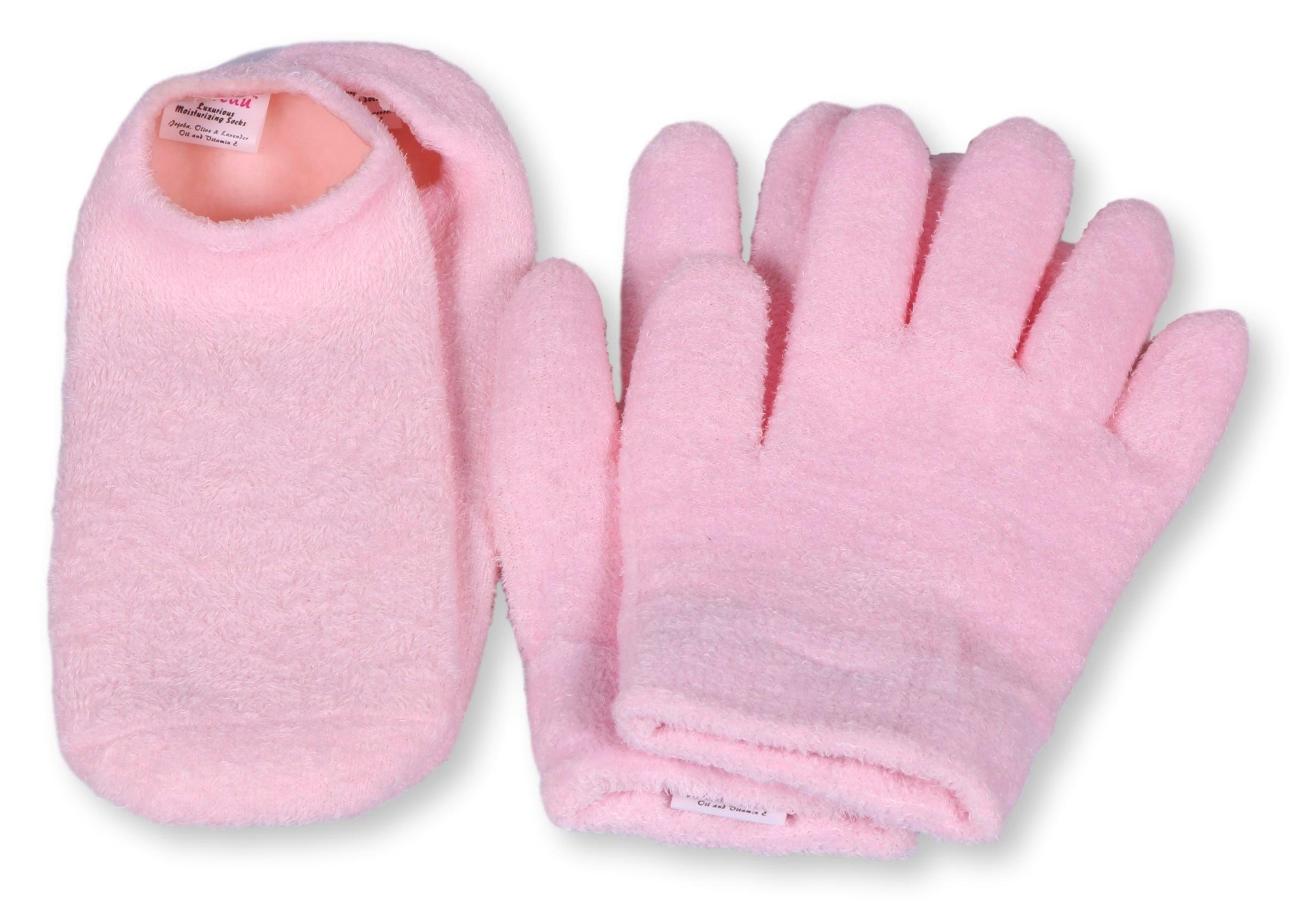 Luxurious Moisturizing Gloves Socks Pack - For Men and Women - Soft Cotton with Thermoplastic Gel Lining - Work on Cracked Feet and Hands - Infused with Botanical Oils - One Pair of Each