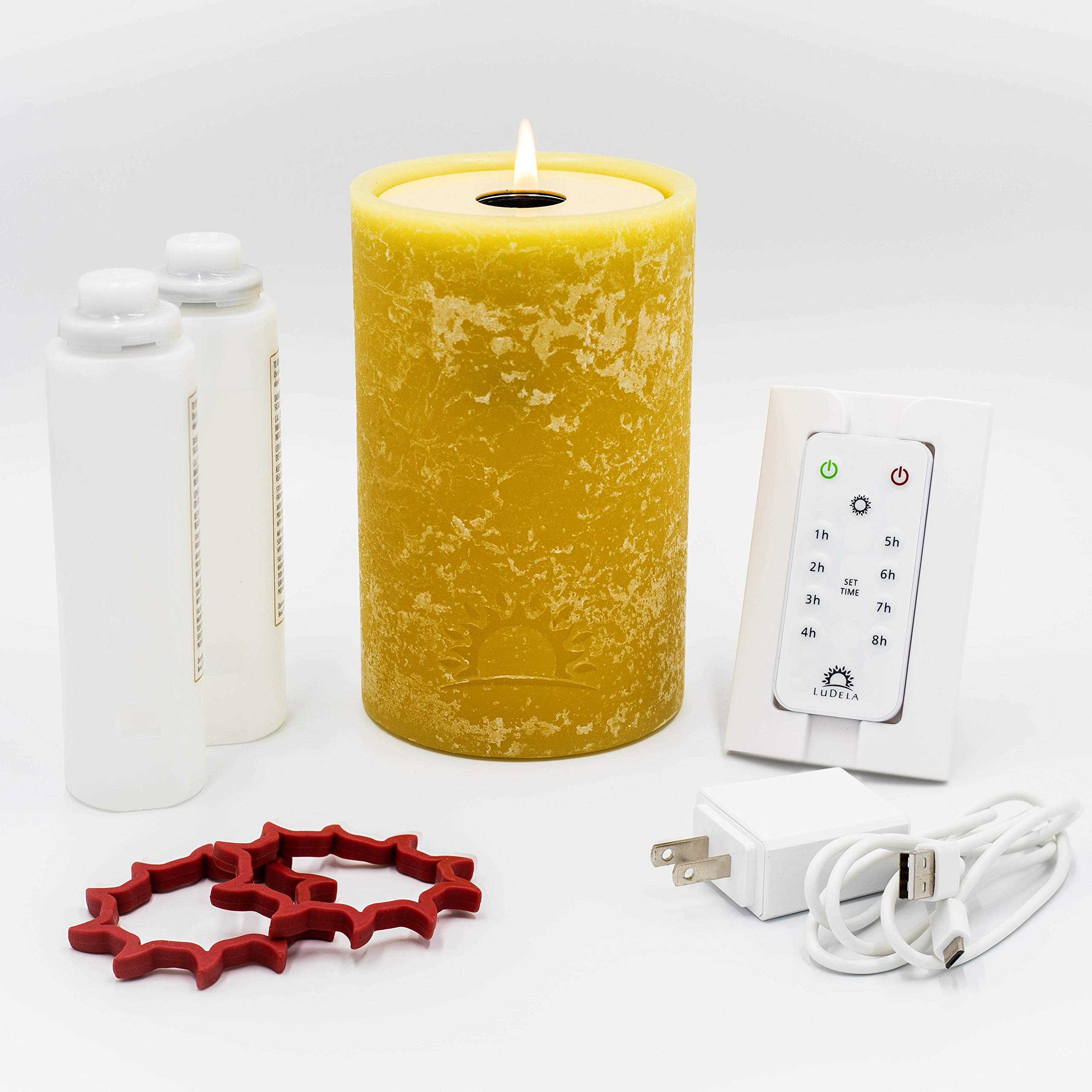 LuDela Remote Control Real-Flame Candle Starter Set | Smart Candle with Remote Control and Alexa Compatibility | Built-in Safety Technology | Always Bright, Natural Candlelight at a Touch of a Button