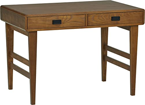 Rivet Mid-Century Desk, 42 W, Warm Brown Wood with Veneer