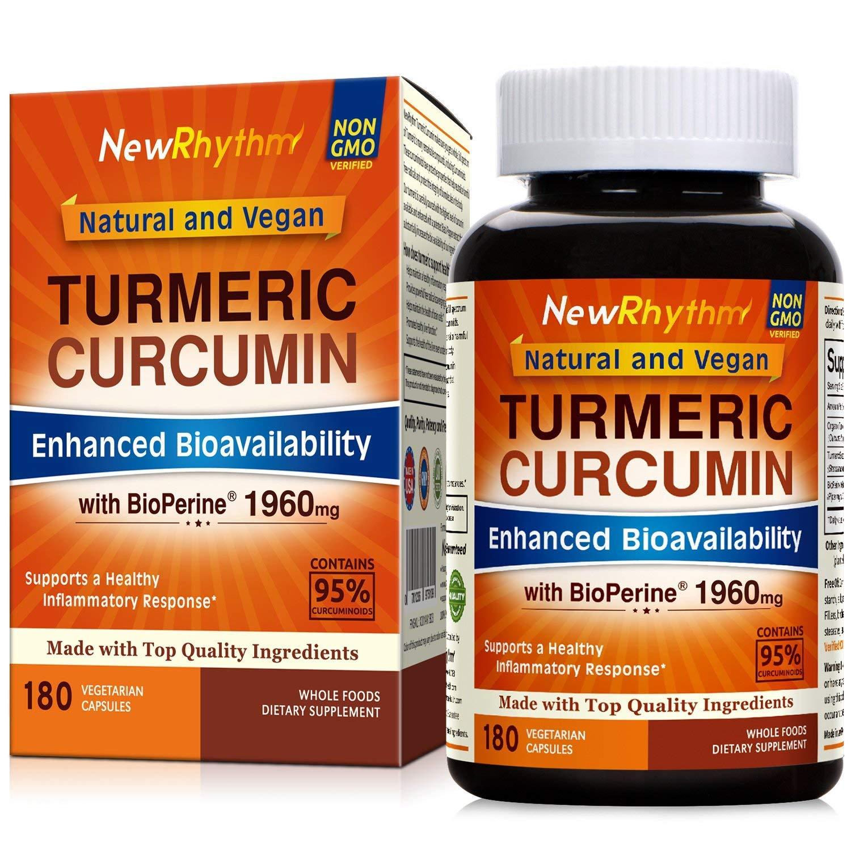Organic Turmeric Curcumin with BioPerine and 95% Curcuminoids, 1960mg, 180 Veggie Capsules by NewRhythm