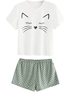 DIDK Women s Cute Cartoon Print Tee and Shorts Pajama Set at Amazon ... 3033593e3