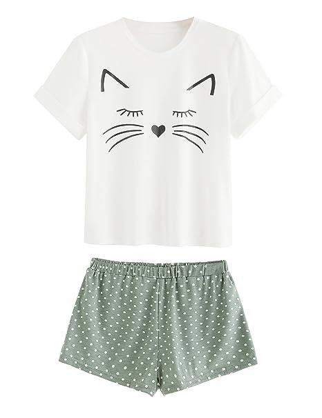 Amazon.com: DIDK - Pijama corto con volantes y estampado de ...