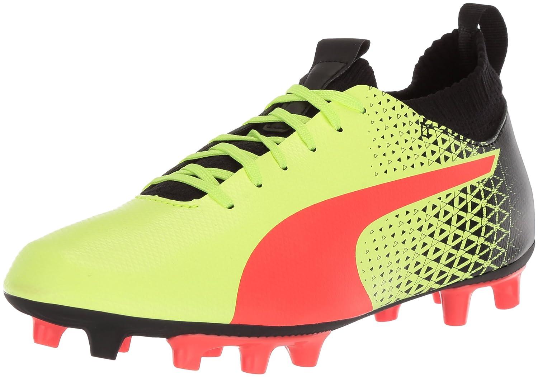PUMA Unisex-Kids Evoknit FTB FG Soccer Schuhe, Fizzy Yellow-ROT Blast schwarz, 1 M US Little Kid