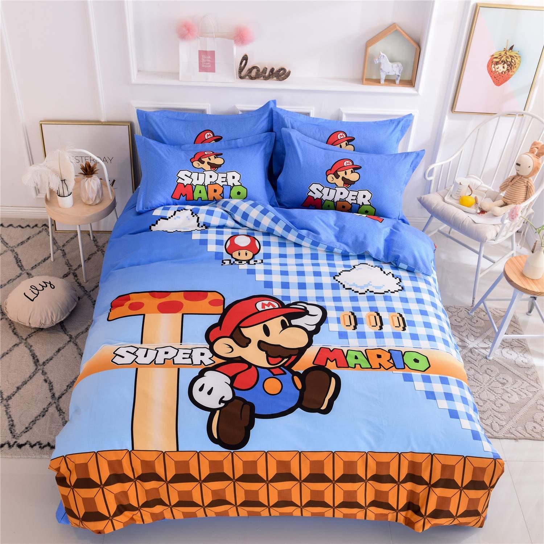 "Cenarious Duvet Cover Set (No Comforter) - 1 Duvet Cover + 1 Flat Sheet + 2 Pillowcases - Hypoallergenic, Breathable - 100% Cotton - 4 Piece - Full(78""x90"") - Cartoon Game Mario - Red Blue"