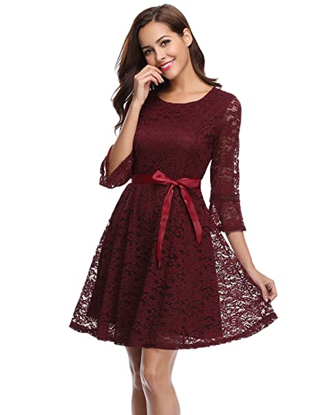 iClosam - Vestido - para Mujer Rojo Rojo Vino Small
