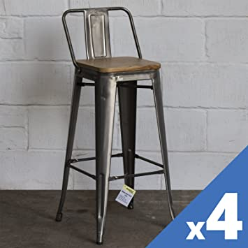 Brilliant Marko Furniture Set Of 4 Metal Industrial Bar Stool Breakfast Kitchen Bistro Cafe Vintage Rustic Steel Caraccident5 Cool Chair Designs And Ideas Caraccident5Info
