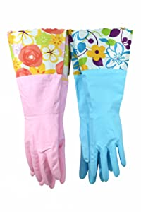 """Finnhomy 31212 Household Gloves Latex free cleaning Gloves with soft fiber lining extra long cuff 15"""" and Vinyl Textured Grip (2 pair), Medium"""